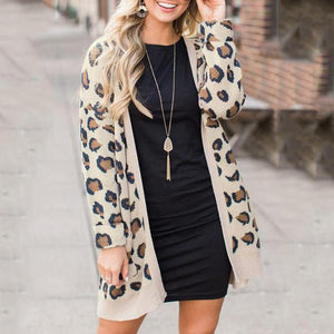 Snap Front  Leopard Printed Cardigans