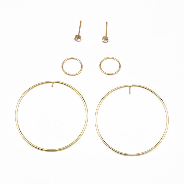 Fashion personality new circle women's earrings set