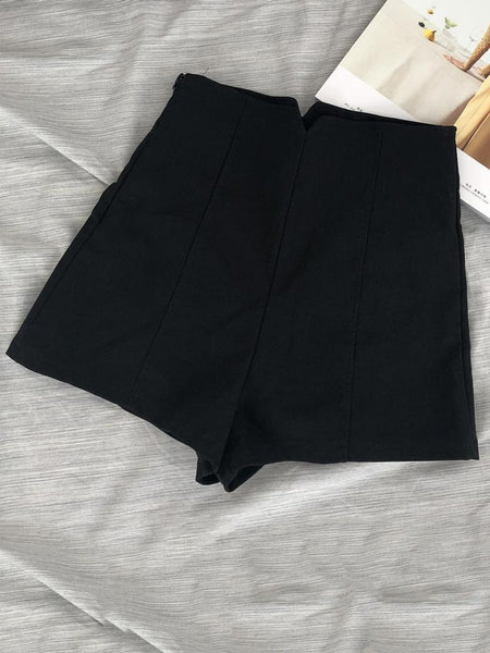 Fashion High-Waist Pure Colour Short Slim Shorts