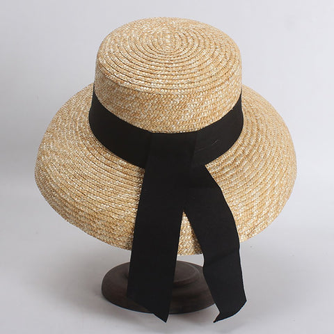Female French elegant retro bell type holiday wind shade hat