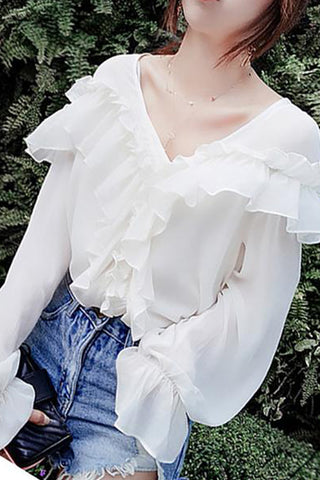Casual V Neck Ruffled Loose Pure Colour Shirt