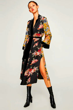 Fashion Casual Long-Sleeved Cardigan And Overcoat With A Oversize Tie
