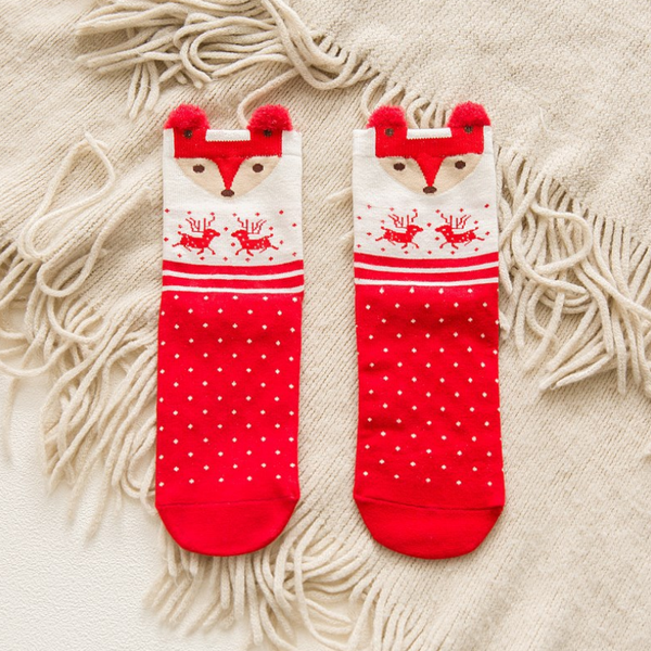 Women Christmas Socks Mid Tube Socks