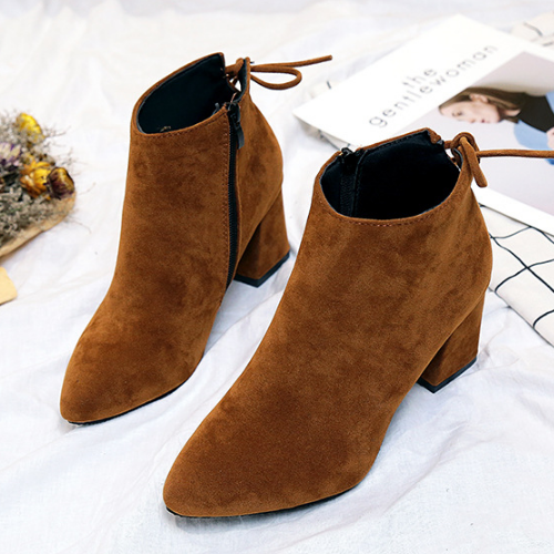 Large Size Chunky Heel Fashion Lace-Up Ankle Boots