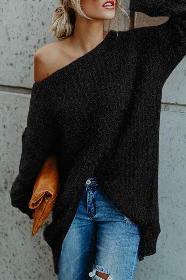 One Shoulder  Loose Fitting  Plain Sweaters
