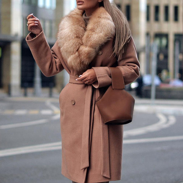 Ladies fashion stitching fur collar camel coat