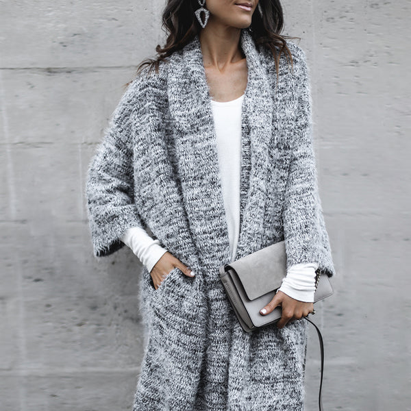 Fashion lapel grey loose knit cardigan