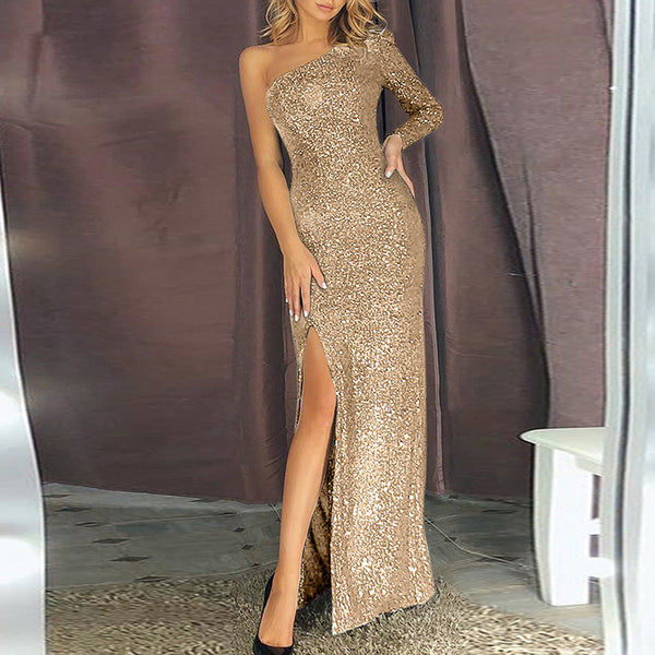Women's Elegant Sloping Shoulder High Slit Evening Dress