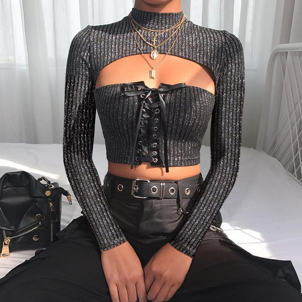 Sexy Hollow Solid Long-Sleeved Top Sweater