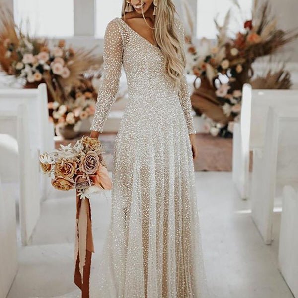 Sexy V-neck Sequined Long-sleeved Dress