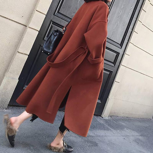 Large size women's coat long over-knee coat