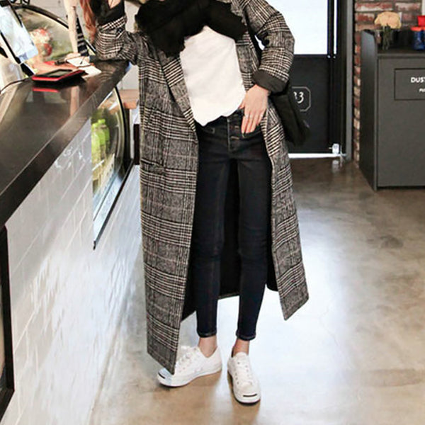 Autumn And Winter Leisure Long-Sleeved Plaid Overcoat