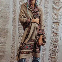 Bohemian solid color V-collar stitched printed coat