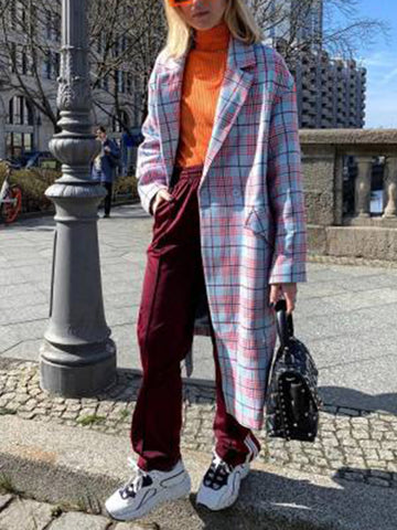 Fashion fold-over collar plaid pocket long coat