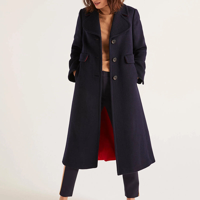 Fashion lapel colorblock loose wool Contrast coat
