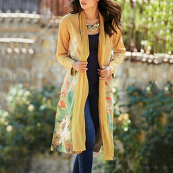 Women's Classic Floral Printed Long Sleeve Slit Coat