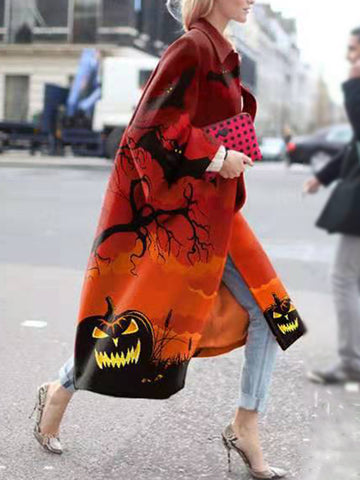 Fashion Halloween Print Loose Long Coat