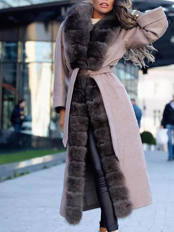 Women's long stitching plush coat