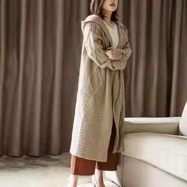 Casual Long Hooded Padded Knit Cardigan