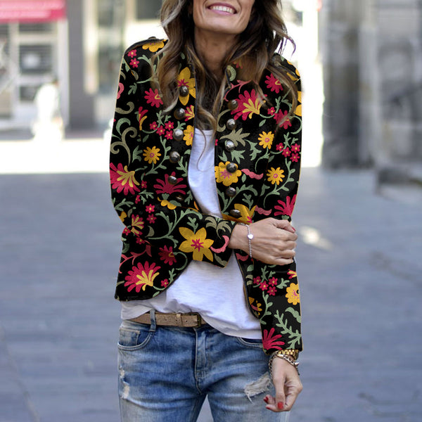 Vintage Printed Long Sleeve Jacket