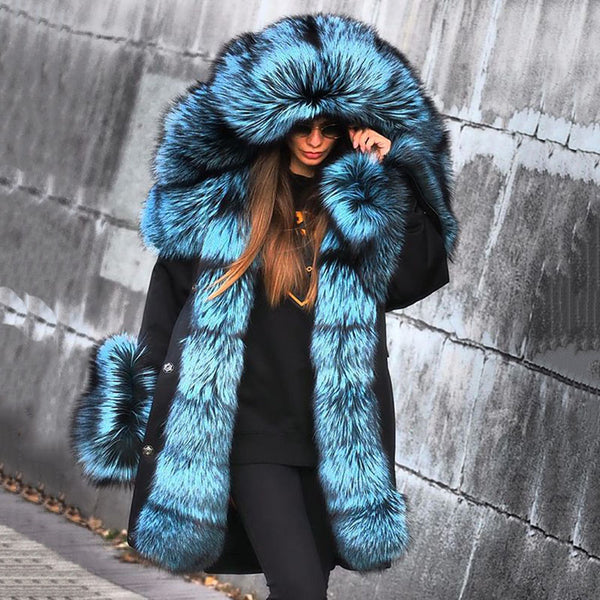 Fashion blue hooded large fur collar black coat