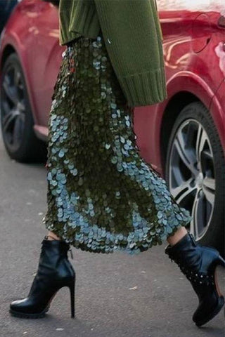 Green Sequin  Bodycon Skirt