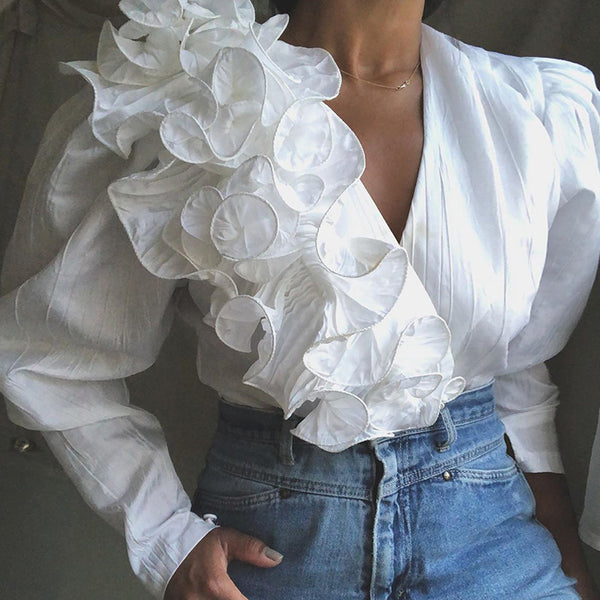 Elegant V-neck Stitching Asymmetric White Blouse