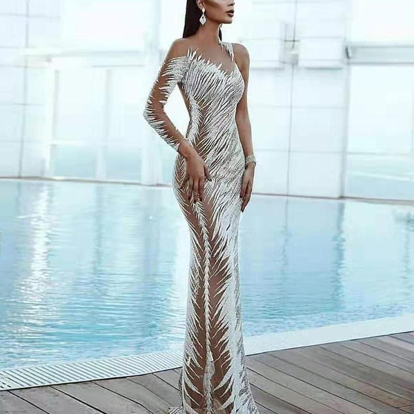 Stylish Silver Pattern Perspective Slim Evening Dress