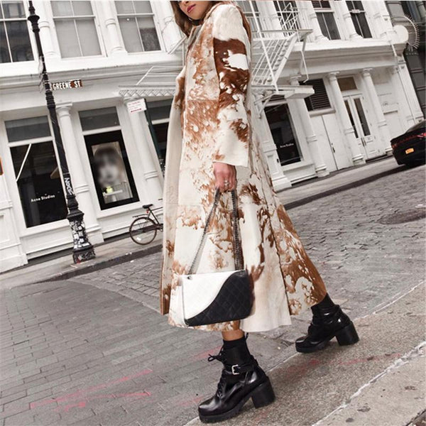 Ladies Fashion Vintage Print Long Coat