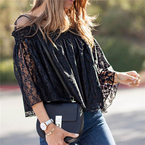 Sexy One Shoulder Lace Shirt