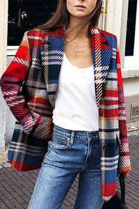Casual Turndown Collar Plaid Long Sleeve Cardigan