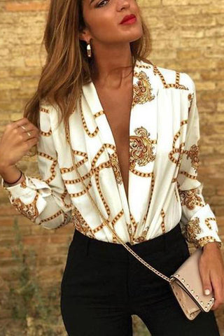 Sexy Deep V Print   Long-Sleeved Fashion Shirt