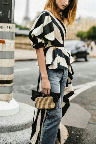 Asymmetric Printing Bubble Sleeve Top