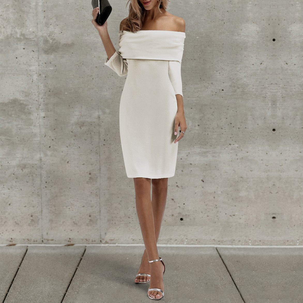 Sexy Off Shoulder Plain Bodycon Dress