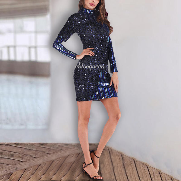 Fashion Sequined Stripe Stitching Dress