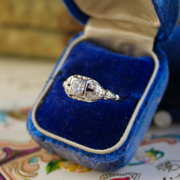 Vintage 1940s 18k White Gold Jabel Engagement Ring