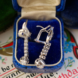 Vintage 1940s/1950s 10k White Gold and Diamond Earrings