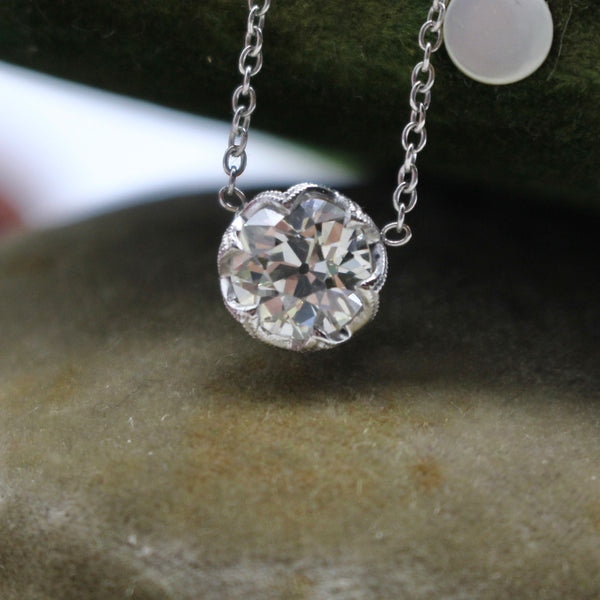 1.33ct J SI1 Old European Cut Diamond Solitaire Necklace