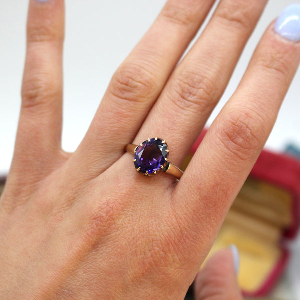 Edwardian 18k Yellow Gold Amethyst Ring
