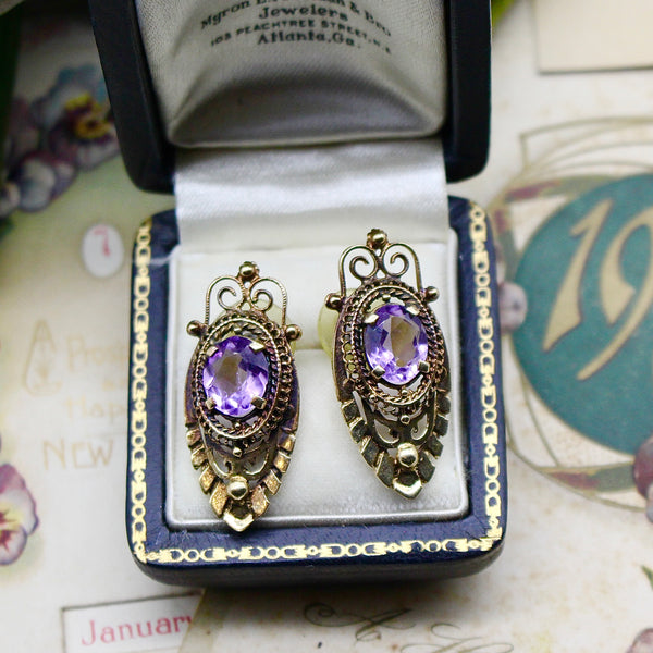 Retro 1940s Victorian Revival 14k Yellow Gold Amethyst Earrings