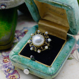 Vintage 14k Yellow Gold Mabe Pearl and Black Enamel Ring