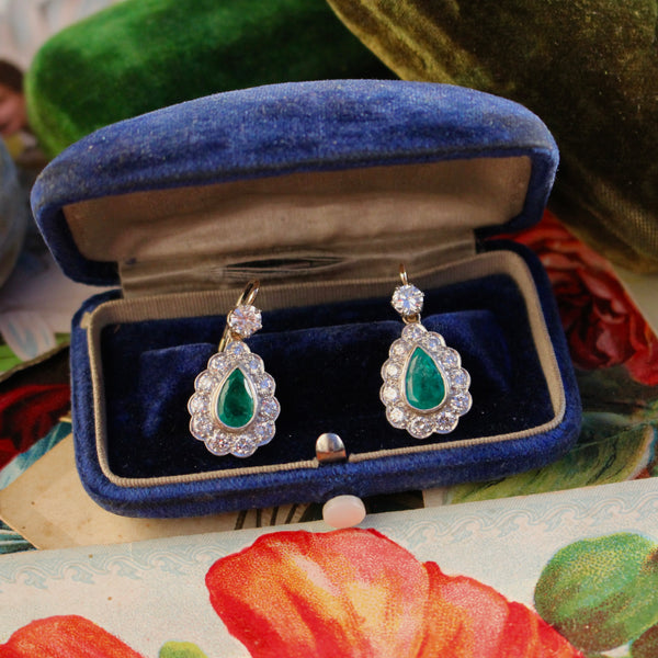 18k Diamond and Emerald Earrings