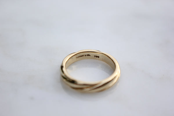 Vintage Tiffany & Co. 18k Yellow Gold 4mm Twist Wedding Ring Stacking Band Size 4.5