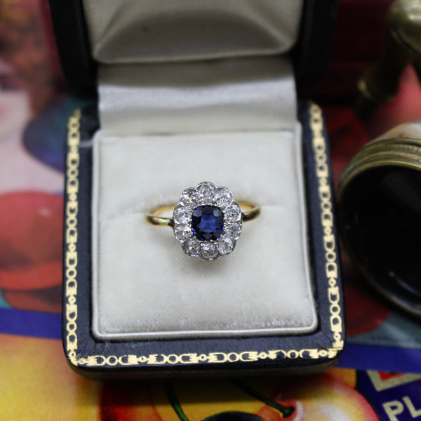 Antique Edwardian Sapphire and Diamond Engagement or Statement Ring