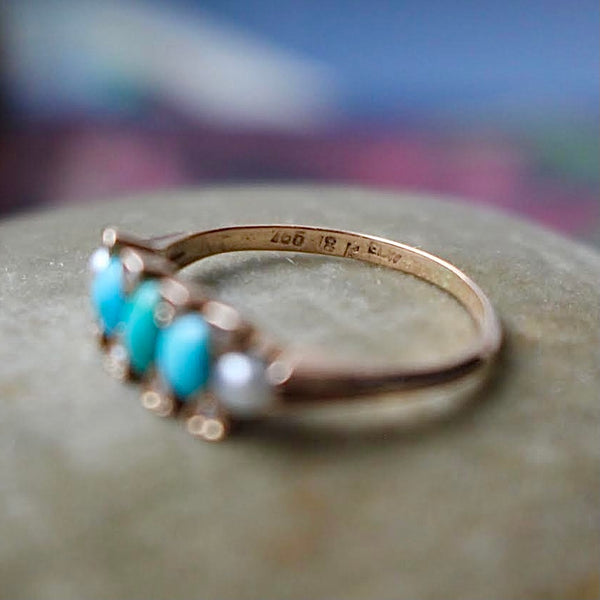 Antique Danish 18k Rose Gold Turquoise and Pearl E.L. Weimann Half Hoop Band Size 6.25
