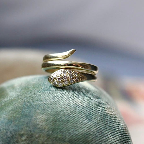 14k and Diamond Snake Ring Size 5.25