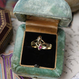 Antique Victorian 14k Ruby and Diamond Double Snake Ring Size 8.75
