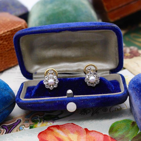 Antique 18k Diamond and Pearl French Omega Clip Earrings