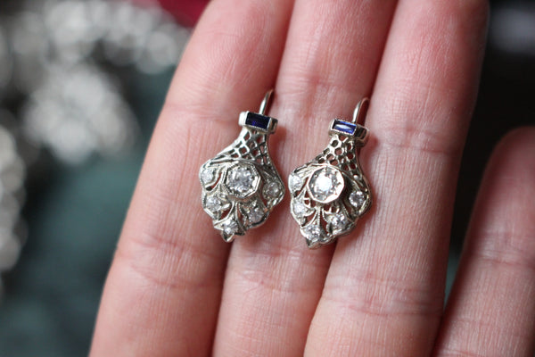 Art Deco 14k White Gold Old Mine Cut Diamond and French Cut Sapphire Stickpin Conversion Earrings