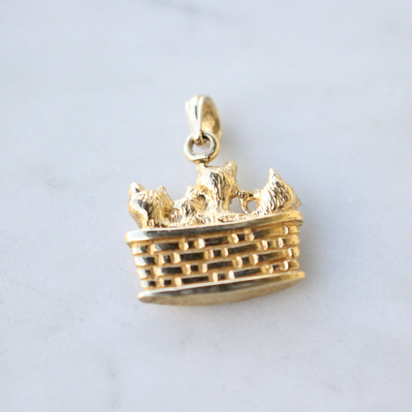 Basket of Kittens 14k Yellow Gold Charm
